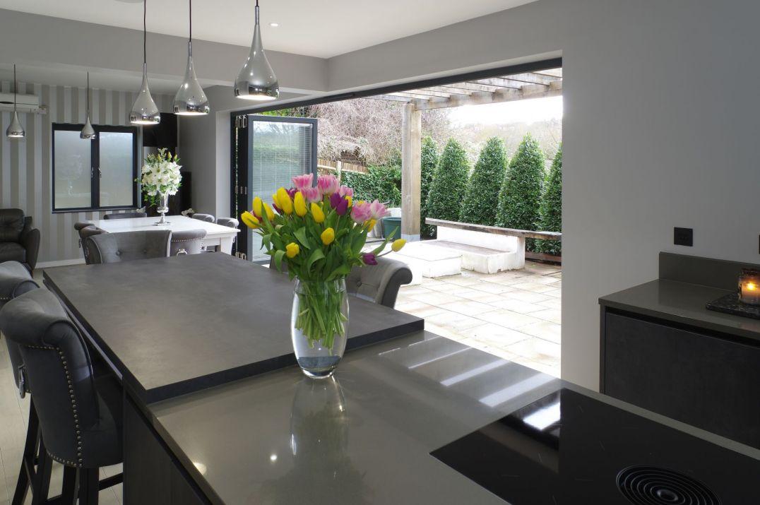 open bi-fold doors to kitchen/ dining area