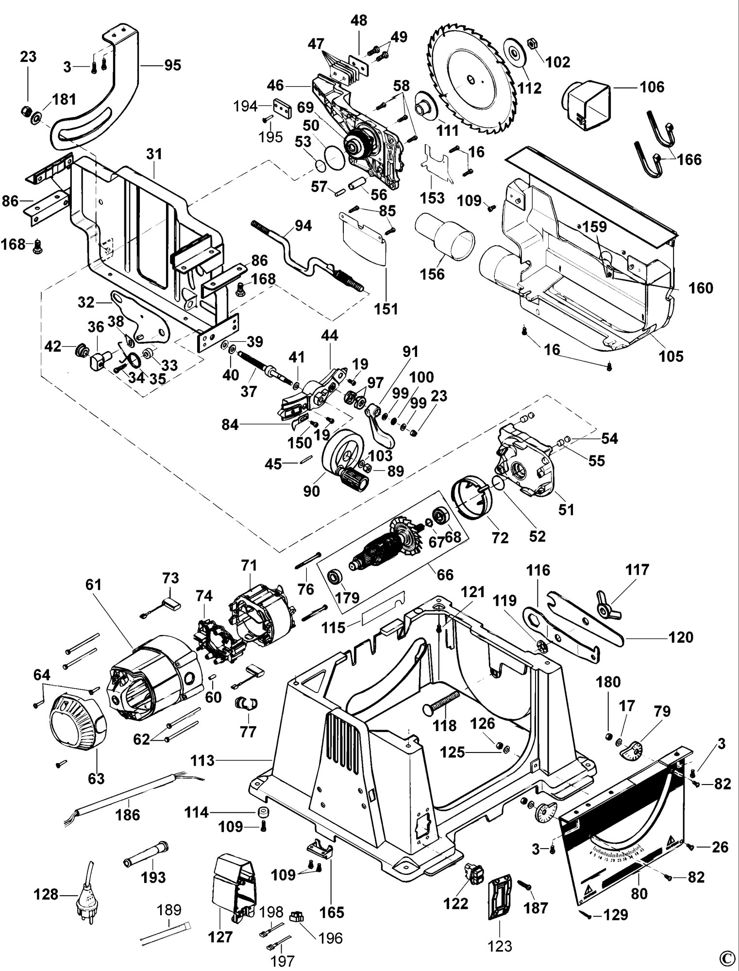 dewalt table saw parts diagram