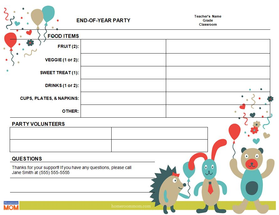 End of Year Classroom Party Sign-Up Sheet - PTO Today - class sign in sheet