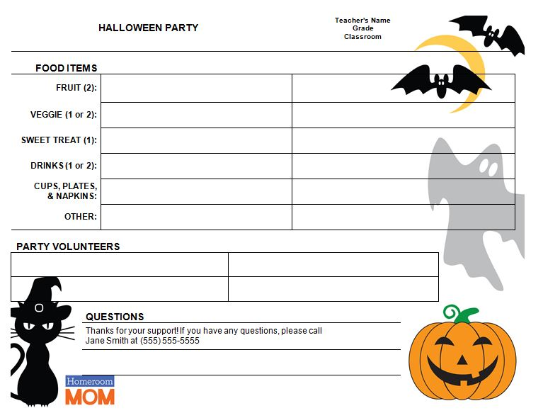 Halloween Classroom Party Sign-Up Sheet - PTO Today