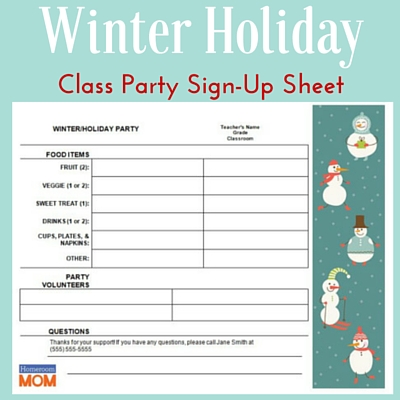 Winter Holiday Classroom Party Sign-Up Sheet - PTO Today - class sign in sheet