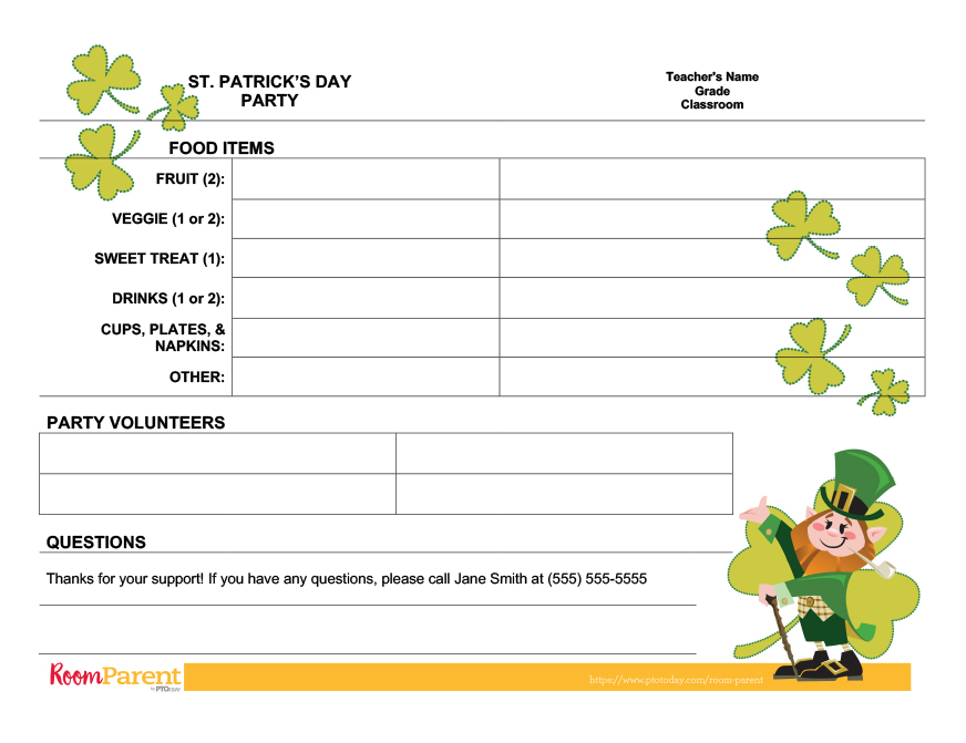St Patrick\u0027s Day Class Party Sign-Up Sheet - PTO Today