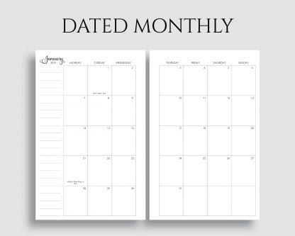 Dated Monthly Calendar, Monday Start - PT Paper
