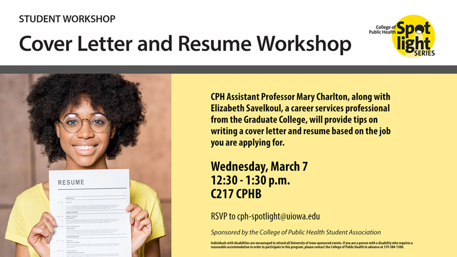 Cover letter and resume workshop set for March 7 - University of