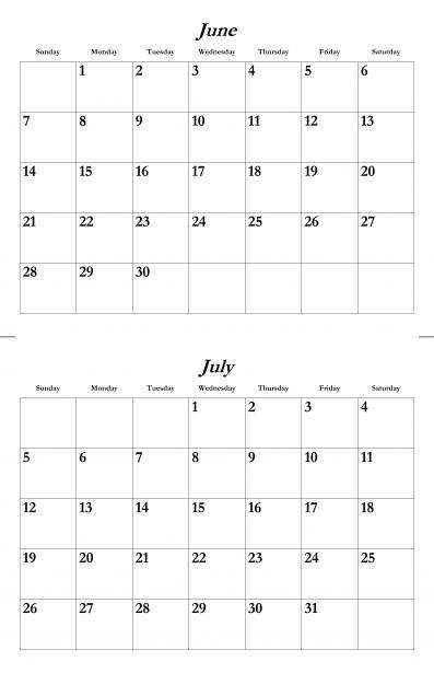 June July 2015 Calendar Template Free Stock Photo - Public Domain