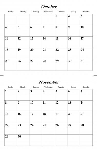 Oct Nov 2015 Calendar Template Free Stock Photo - Public Domain Pictures
