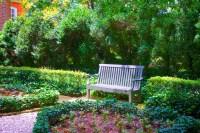 Park Bench In Flower Garden Free Stock Photo - Public ...