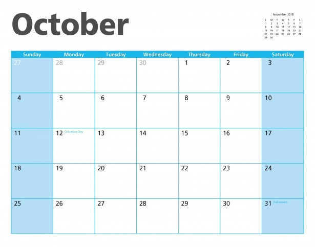 October 2015 Calendar Page Free Stock Photo - Public Domain Pictures