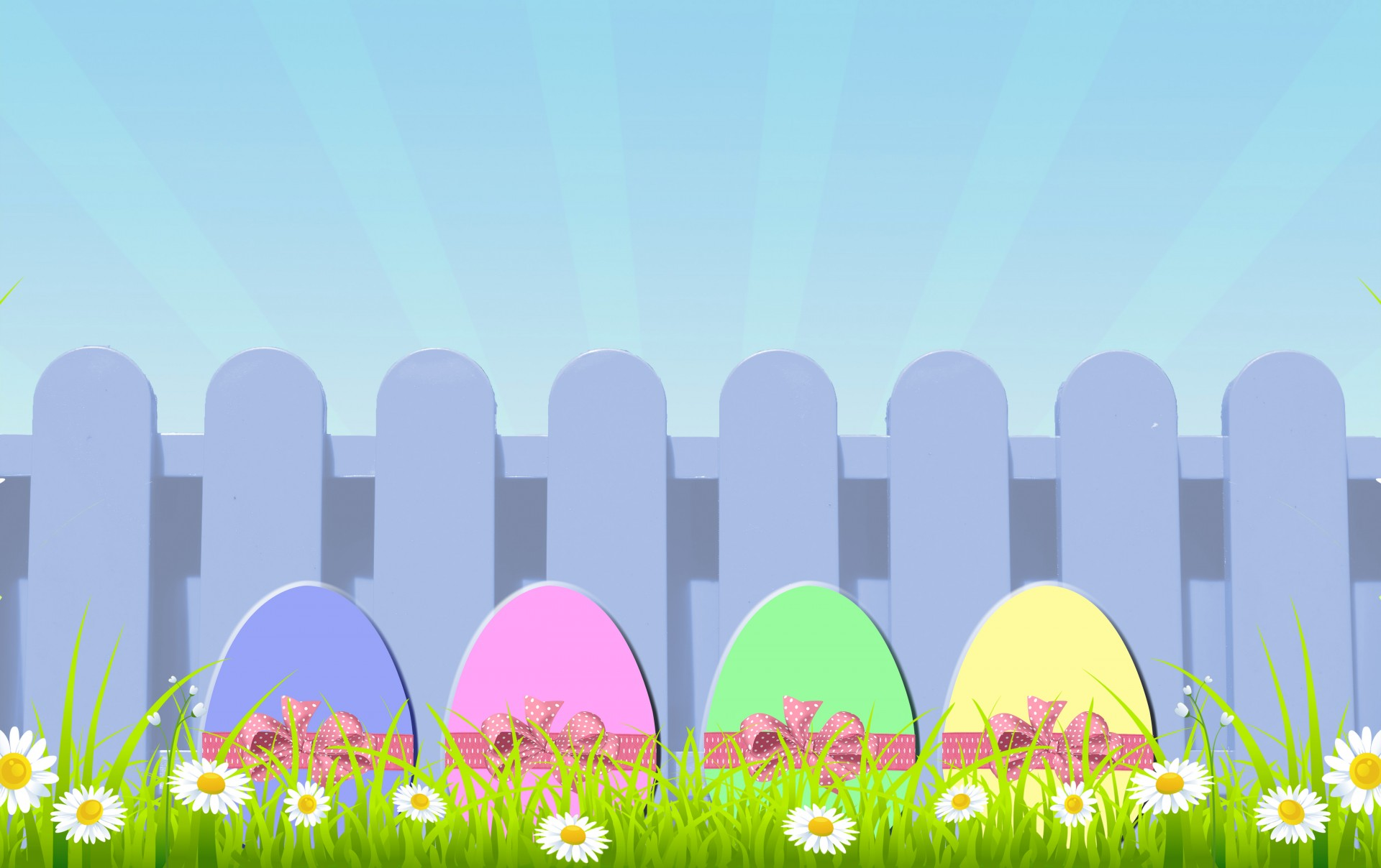 Cute Sky Blue Wallpaper Easter Eggs With Picket Fence Free Stock Photo Public
