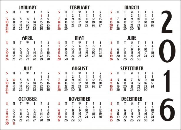 12 Month Calendar 2016 Free Stock Photo - Public Domain Pictures - 12 calendar