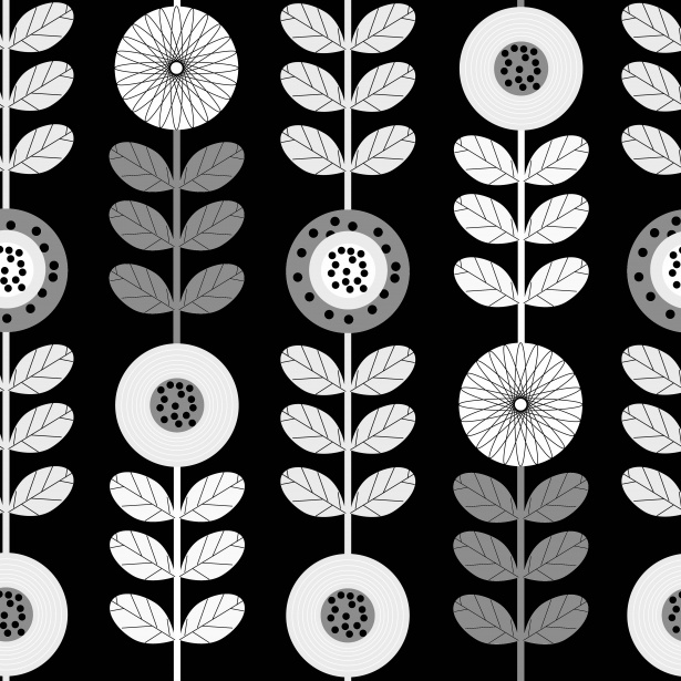 Black White Modern Wallpaper Floral Pattern Seamless Background Free Stock Photo
