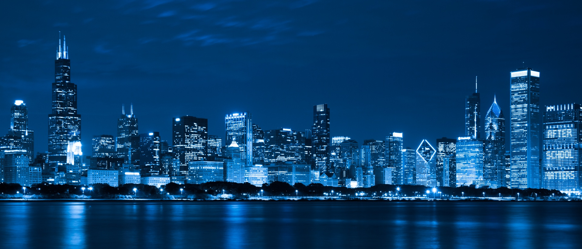 Blue Neon Hd Wallpaper Chicago Skyline At Night Free Stock Photo Public Domain