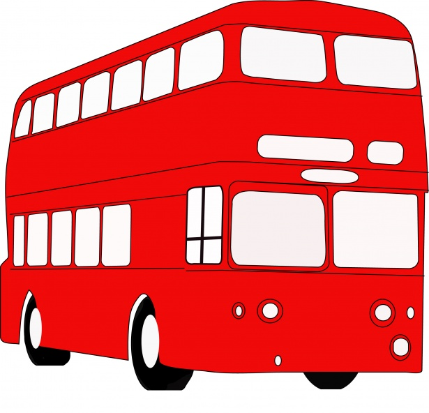 red double decker bus clipart
