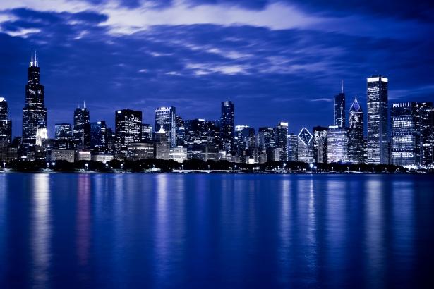 Dual Screen Wallpaper Fall Chicago Skyline At Night Free Stock Photo Public Domain