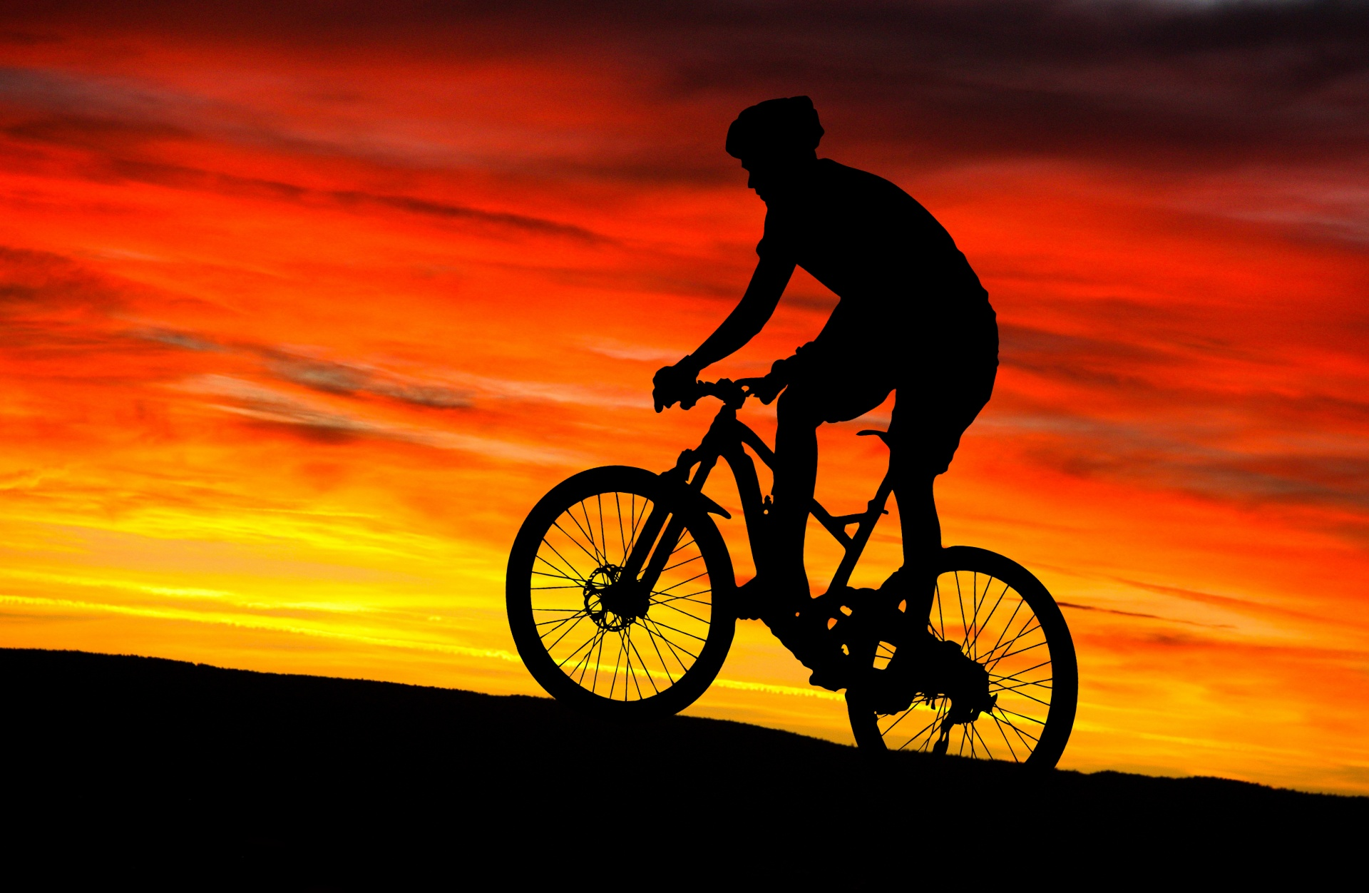 Wallpaper Black Orange Mountain Bike Rider Sunset Free Stock Photo Public