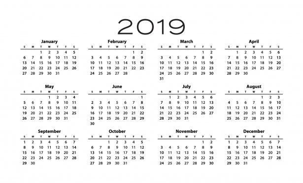 year at a glance printable calendar 2019