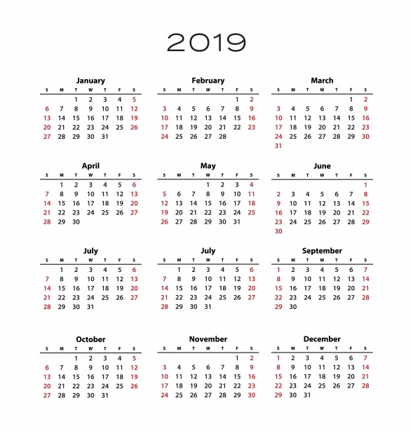 2019 Calendar Template Free Stock Photo - Public Domain Pictures - calendar template