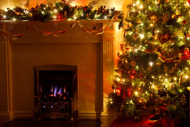 Christmas Tree With Fireplace Free Stock Photo Public