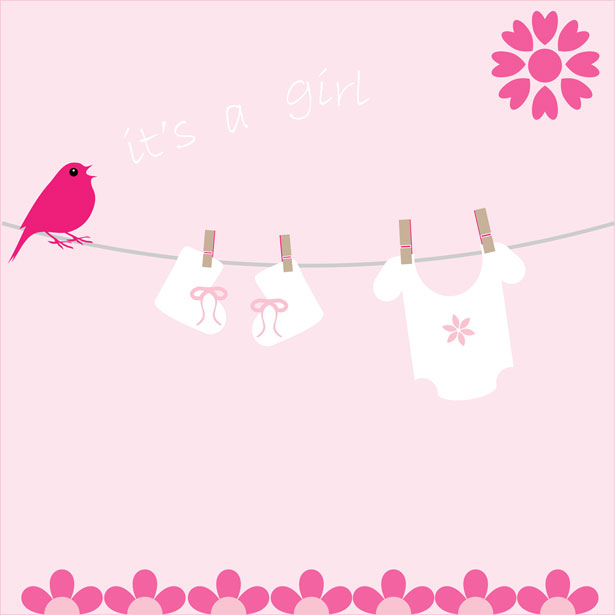 Baby Girl Card Announcement Free Stock Photo - Public Domain Pictures