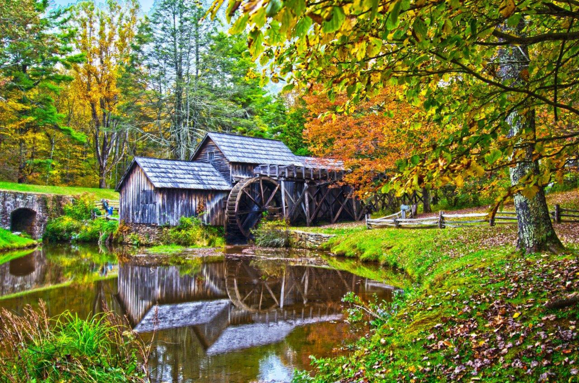 Fall Mountain Scenery Wallpaper Mabry Mill In Virginia Free Stock Photo Public Domain