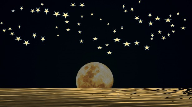 Wallpaper Falling Down Moon And Stars With Midnight Sky Free Stock Photo Public