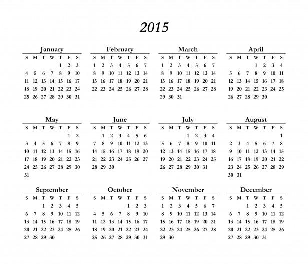 2015 Calendar Template Free Stock Photo - Public Domain Pictures