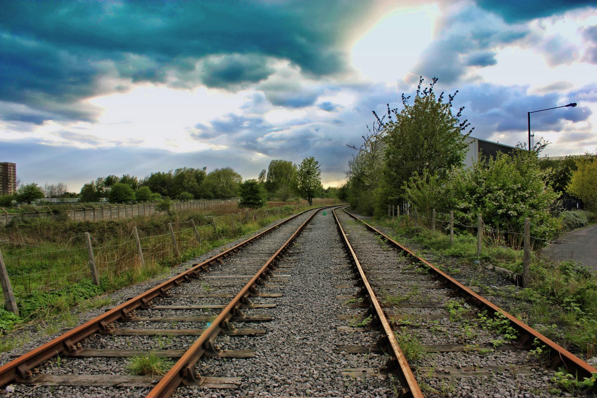 Blue Sky 3d Wallpaper Train Tracks Abandoned Free Stock Photo Public Domain