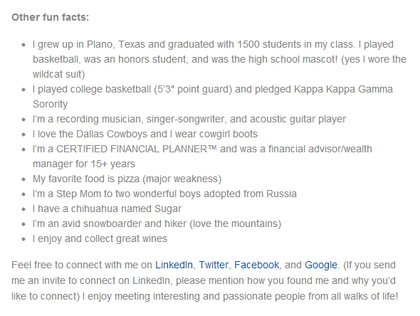 Fun facts in a professional bio make people smile The Publicity Hound