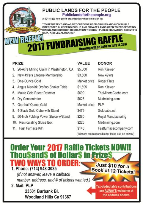 2017 Grand Raffle is here! Public Lands For The People