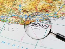 14852630 - focus on barcelone on the map  source