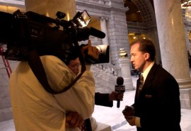 Salt Lake City - Rep. Chad Bennion speaks to a television crew about HCR003 - Resolution Urging Protection of United States from Weapons of Mass Destruction.