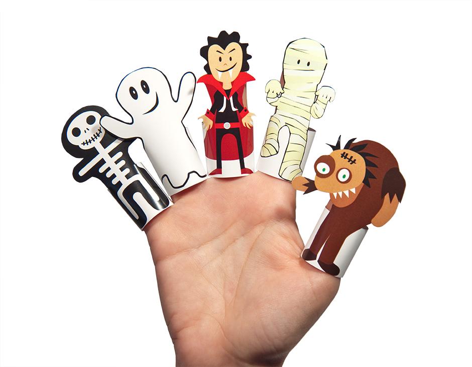 Halloween Monsters Paper Finger Puppets PRINTABLE PDF PUKACA