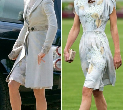 Royal Recycling... Kate Middleton wears Jenny Packham dress for a second time. Image: Marie Claire.