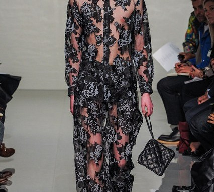 Ludicrous Lace...JW Anderson's jumpsuit for men on the catwalk. Image: Vogue UK