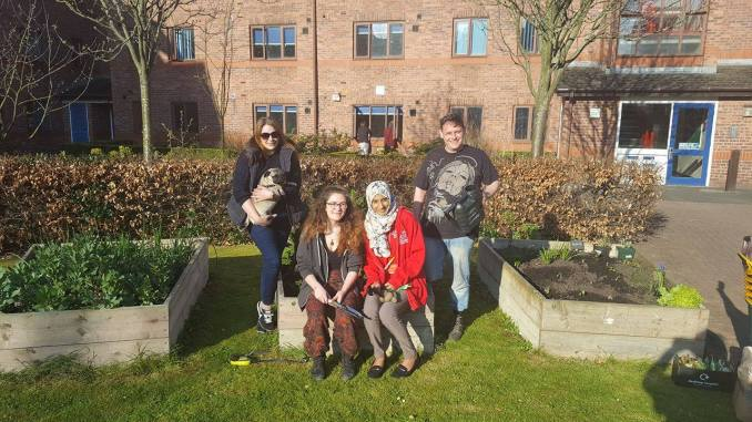 The Green Ladder Project allotments outside Whitendale Halls