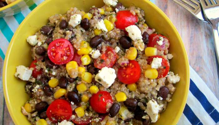 Crammed full of quinoa, cherry tomatoes, corn, black beans, and feta cheese, you can satisfy your taste for Mexican food with this Mexican Quinoa Salad.