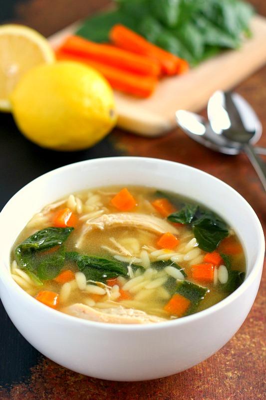 Lemon Chicken Orzo Soup - Pumpkin 'N Spice