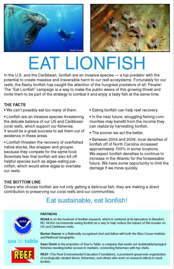 Eat Lionfish Information Card from NOAA