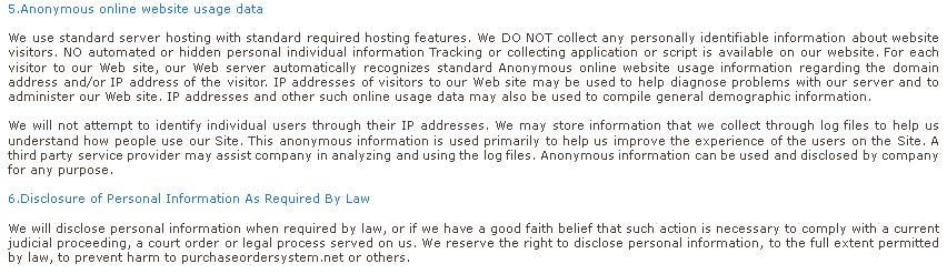 Privacy Policy about purchase order organizer software barcode maker