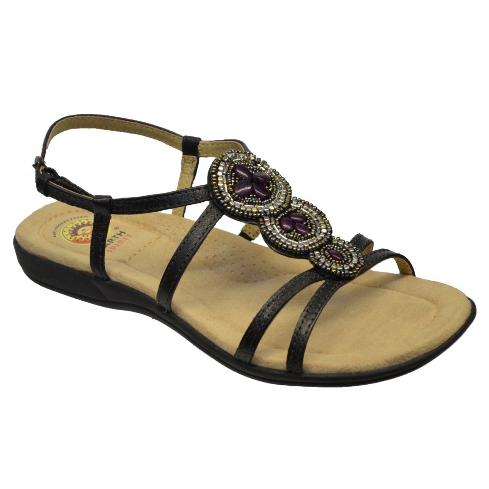 Earth spirit florida leather black n27 19572 ladies sandals