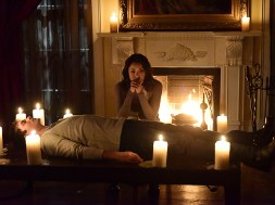 "The Vampire Diaries -- ""Hell Is Other People"" -- Image Number: VD710a_0027.jpg -- Pictured (L-R): Ian Somerhalder as Damon and Kat Graham as Bonnie -- Photo: Guy D'Alema/The CW -- © 2016 The CW Network, LLC. All rights reserved."