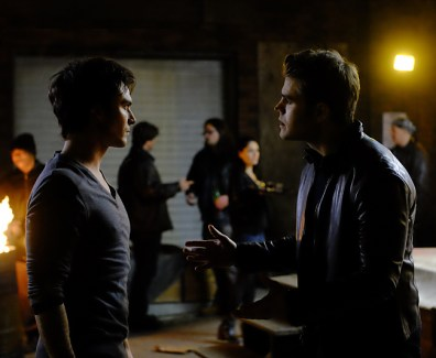 "The Vampire Diaries -- ""Postcards from the Edge"" -- Image Number: TVD712C_0330_0361.ra.jpg -- Pictured (L-R): Ian Somerhalder as Damon and Paul Wesley as Stefan -- Photo: Guy D'Alema/The CW -- © 2016 The CW Network, LLC. All rights reserved."