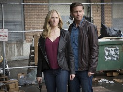 """The Vampire Diaries -- """"Kill 'Em All"""" -- Image Number: VD720b_0051.jpg -- Pictured (L-R): Candice King as Caroline and Matt Davis as Alaric -- Photo: Bob Mahoney/The CW -- © 2016 The CW Network, LLC. All rights reserved."""