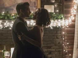 """The Vampire Diaries -- """"Somebody That I Used To Know"""" -- Image Number: VD719b_0299.jpg -- Pictured (L-R): Michael Malarkey as Enzo and Kat Graham as Bonnie -- Photo: Annette Brown/The CW -- © 2016 The CW Network, LLC. All rights reserved."""