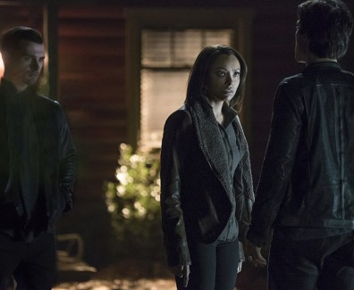 "The Vampire Diaries -- ""Kill 'Em All"" -- Image Number: VD720a_0326.jpg -- Pictured (L-R): Michael Malarkey as Enzo, Kat Graham as Bonnie and Ian Somerhalder as Damon -- Photo: Annette Brown/The CW -- © 2016 The CW Network, LLC. All rights reserved."