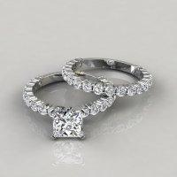 Princess Cut Shared Prong Engagement Ring and Wedding Band