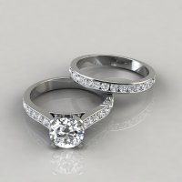 Cathedral Engagement Ring and Wedding Band Set ...