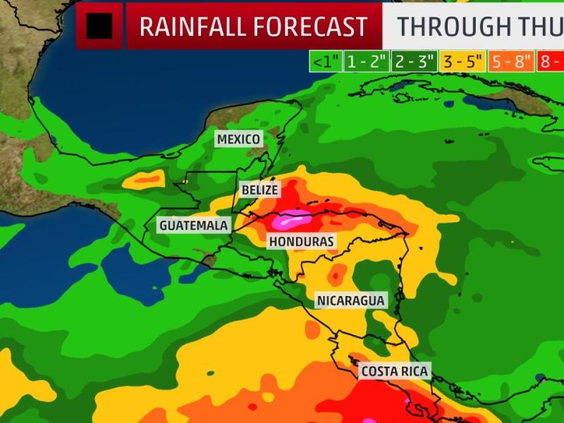 Zona afectada Centroamérica Imagen weather.com