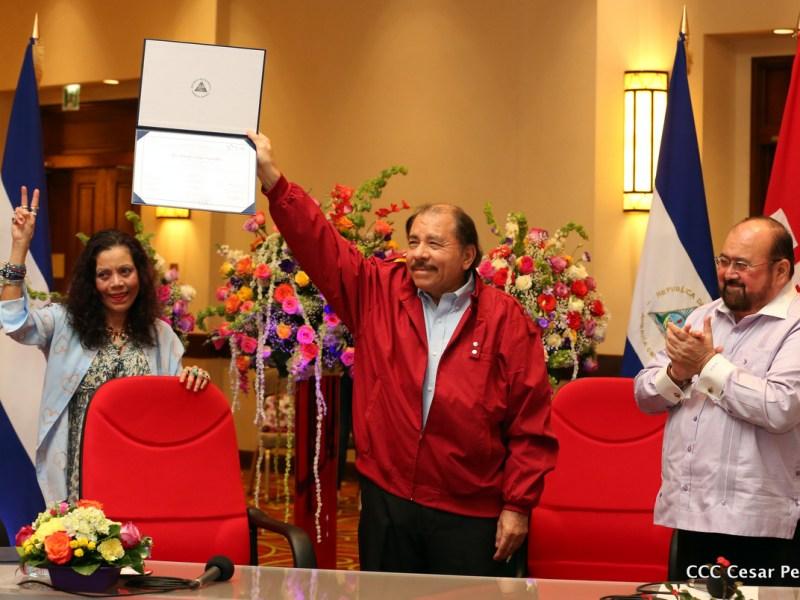 Nicaragua Daniel Ortega Rosario Murillo y Roberto Rivas. Foto Gobierno de Nicaragua