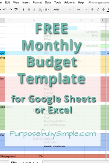 Free Monthly Budget Template - Purposefully Simple - sample monthly budget template